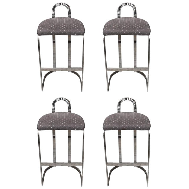 Swaim Designs Chrome Upholstered Bar Stools - Set of 4 - Image 1 of 8