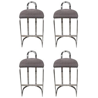 Swaim Designs Chrome Upholstered Bar Stools - Set of 4