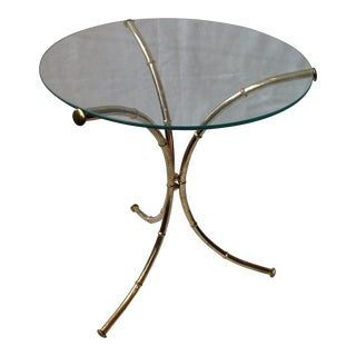 Vintage Faux Bamboo Gold Glass-Top Table