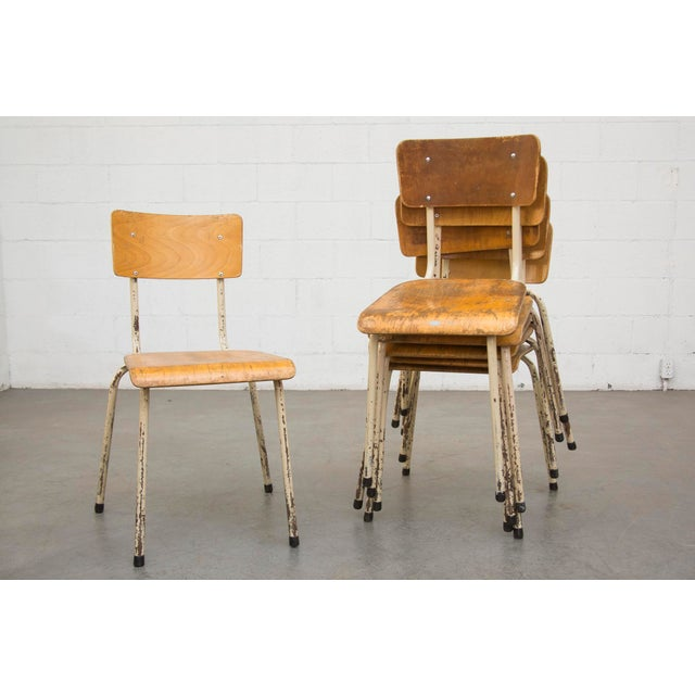 Industrial Plywood Stacking School Chairs - Image 2 of 11