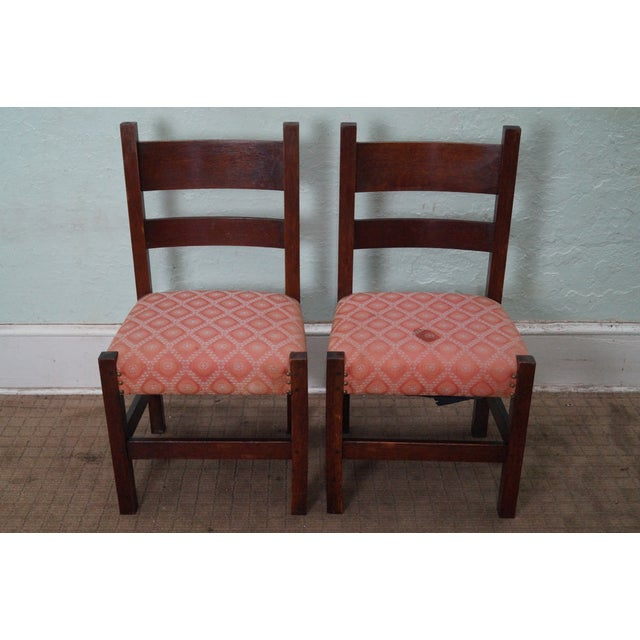 antique mission oak side chairs pair chairish