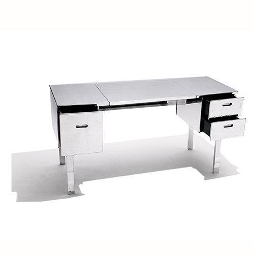 Polished Aluminum Folding Campaign Desk - Image 4 of 4