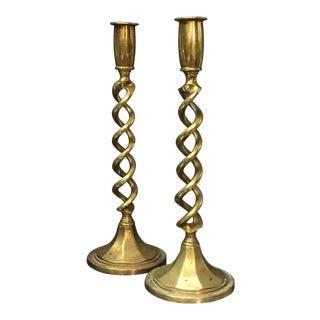 English Antique Brass Candlesticks - A Pair