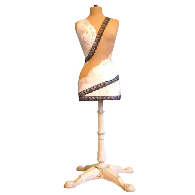 Lacy Mannequin with Antique Cast Iron Base - Image 1 of 8