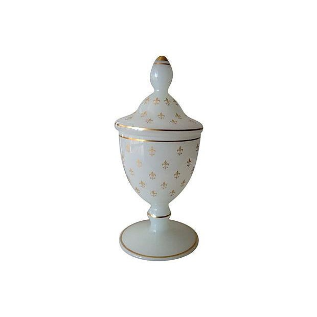 French Opaline Glass Lidded Container - Image 1 of 6