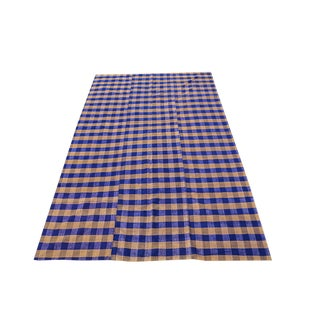 VintageTurkish Modern Blue Handmade Flatweave - 5′11″ × 9′7″