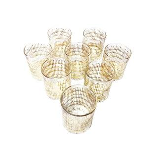 Mid-Century 24k Gold Leaf Culver Glasses - Set of 8