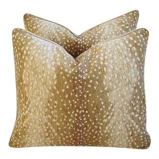 "Custom Tailored Antelope Fawn Spot Velvet Feather Down Pillows 21"" X 18"" - Pair"