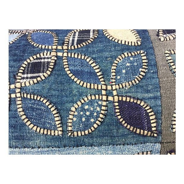 Tribal Indigo Patchwork Quilt Pillow - Image 4 of 5