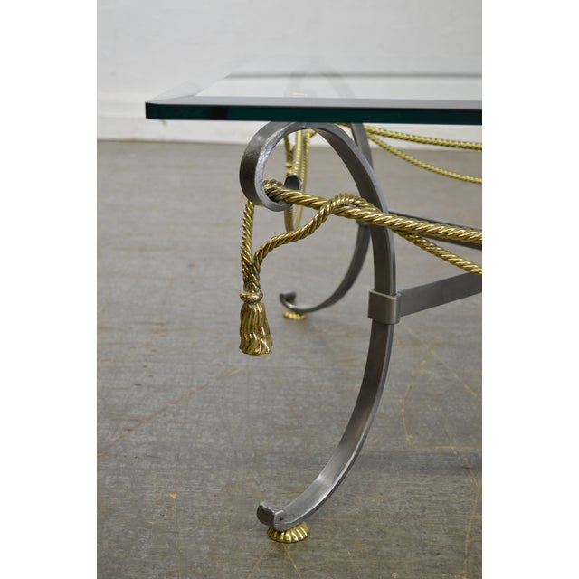 LaBarge Brushed Steel & Brass Rope Tassel Square Glass Top Coffee Table - Image 6 of 10