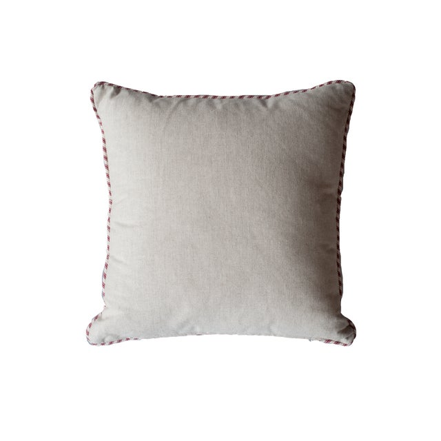 Rocky Shore Lighthouse Navy Linen Pillow - Image 2 of 2