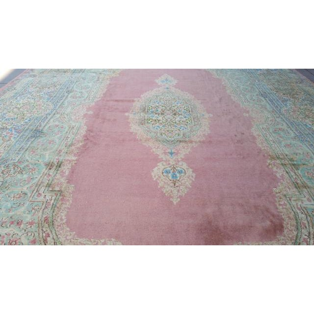 Vintage Persian Kerman Hand Made Knotted Rug