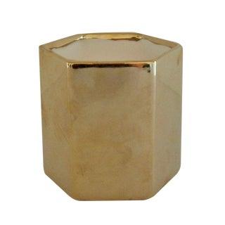 Hexagon-Shaped Gold Vase