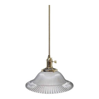 "Vintage Frosted 7.5"" Holophane Pendant Light"
