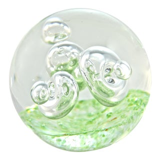 Green Blown Art Glass Orb