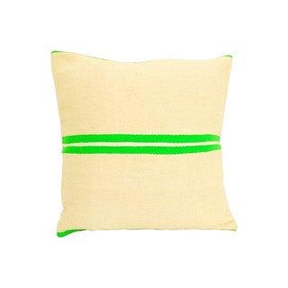 Vintage Moroccan Green & Tan Wool Pillow