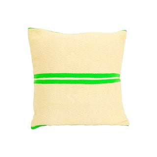 Vintage Moroccan Green & Tan Wool Pillow