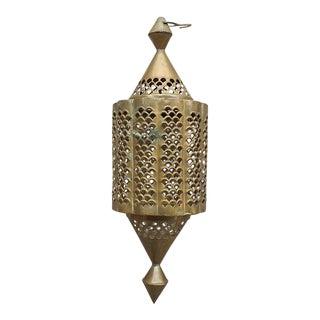 Vintage Moroccan Pierced Brass Lantern