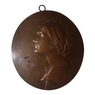 Antique Bronze Woman Profile Wall Plaque