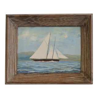 Vintage Sailboat Painting In Weathered Frame