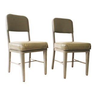 Chromcraft Vintage Industrial Gray Metal Chairs - A Pair