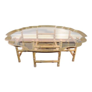 Vintage Brass & Glass Coffee Table