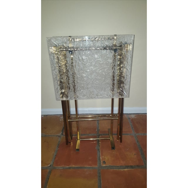 Lucite & Brass Tray Tables & Caddy - Set of 2 - Image 2 of 7