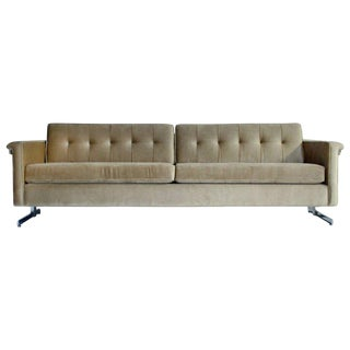 Cantilevered Chrome and Wood Frame Mohair Sofa