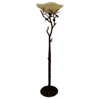 Faux Bois Wrought Iron Floor Lamp
