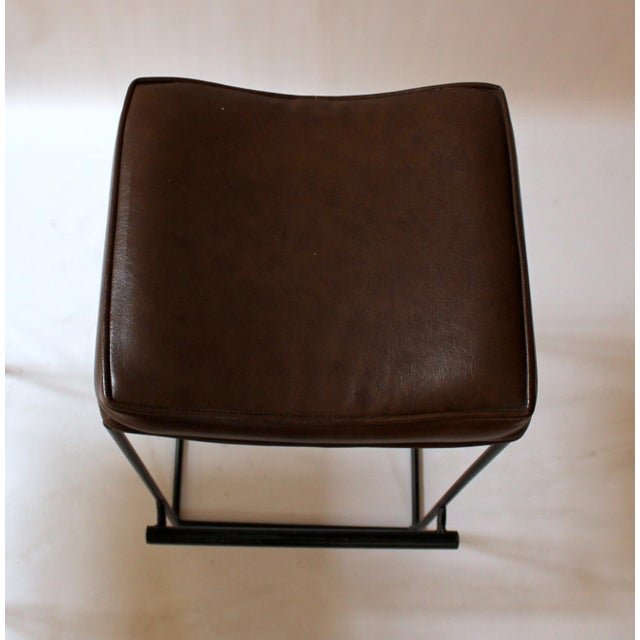 Mid-Century Modern Upholstered Iron Bar Stools - A Pair - Image 7 of 10