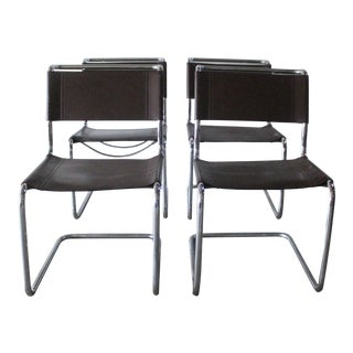 Stendig Leather and Chrome Dining Chairs - Set of 4
