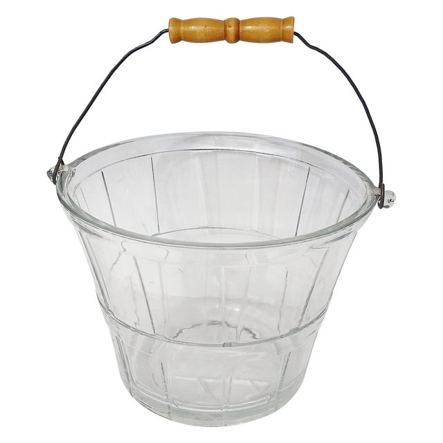 Vintage Glass Bucket W Handle, Wine Cooler - Image 1 of 7