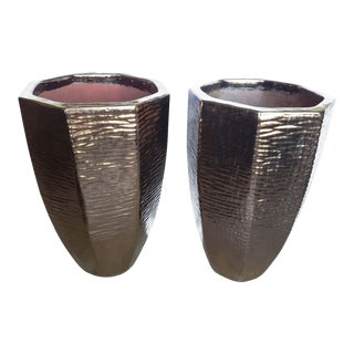 Pair of Architectural Indoor Outdoor Oversize Planters Finished in Bronze