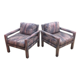 Milo Baughman Style Parsons Club Chairs by Drexel- a Pair