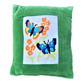 Vintage 1970's Butterfly Needlepoint Pillow