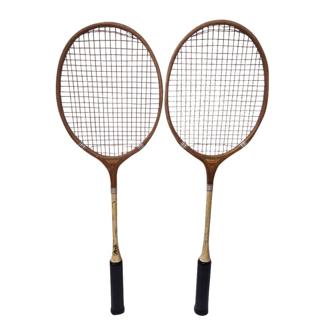 Vintage Wood Badminton Rackets - a Pair - Image 1 of 5