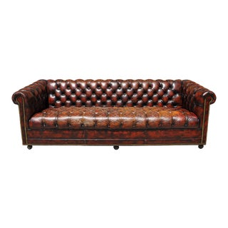 1940's English Red Oxblood Leather Chesterfield Sofa