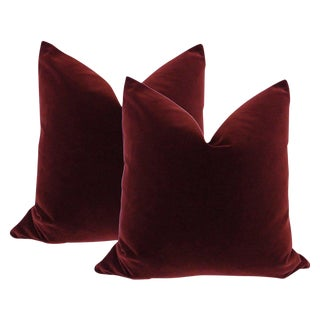 "22"" Velvet Pillows in Oxblood - A Pair"