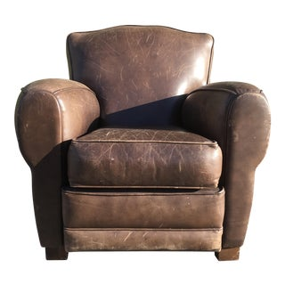 Art Deco Inspired Leather Club Chair