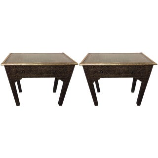 Pair of Compatible Metal over Wood Royal Wall Console
