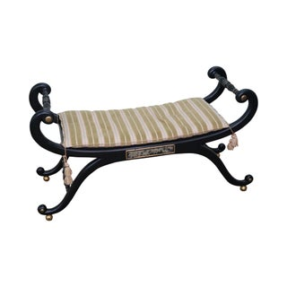 Ebonized Regency Style Curule Gilt Accent Bench