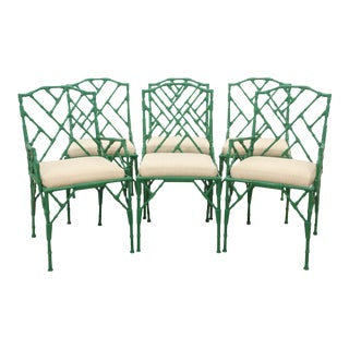 Metal Faux Bamboo Dining Chairs - Set of 6