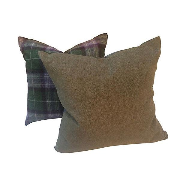 Scottish Plaid Wool Pillows - Pair - Image 4 of 4