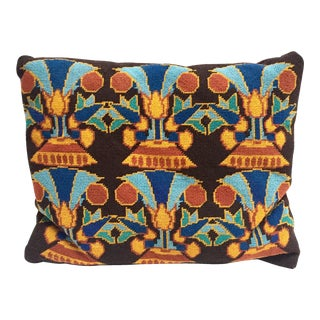 Vintage Brown, Blue and Orange Needlepoint Pillow