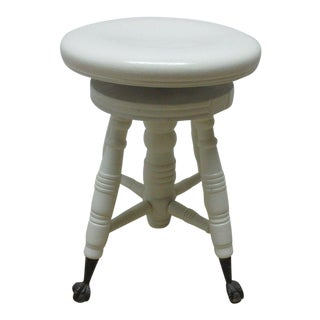 Antique Painted Claw Foot Piano Stool