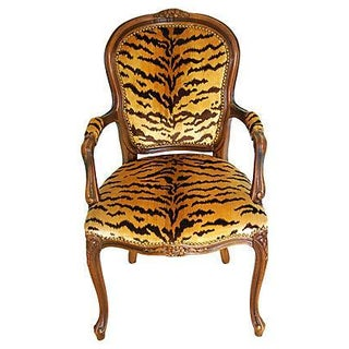 Louis XV Walnut Armchair in Scalamandre Le Tigre