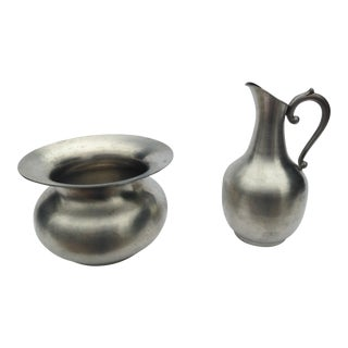 Pewter Creamer & Sugar Bowl Set