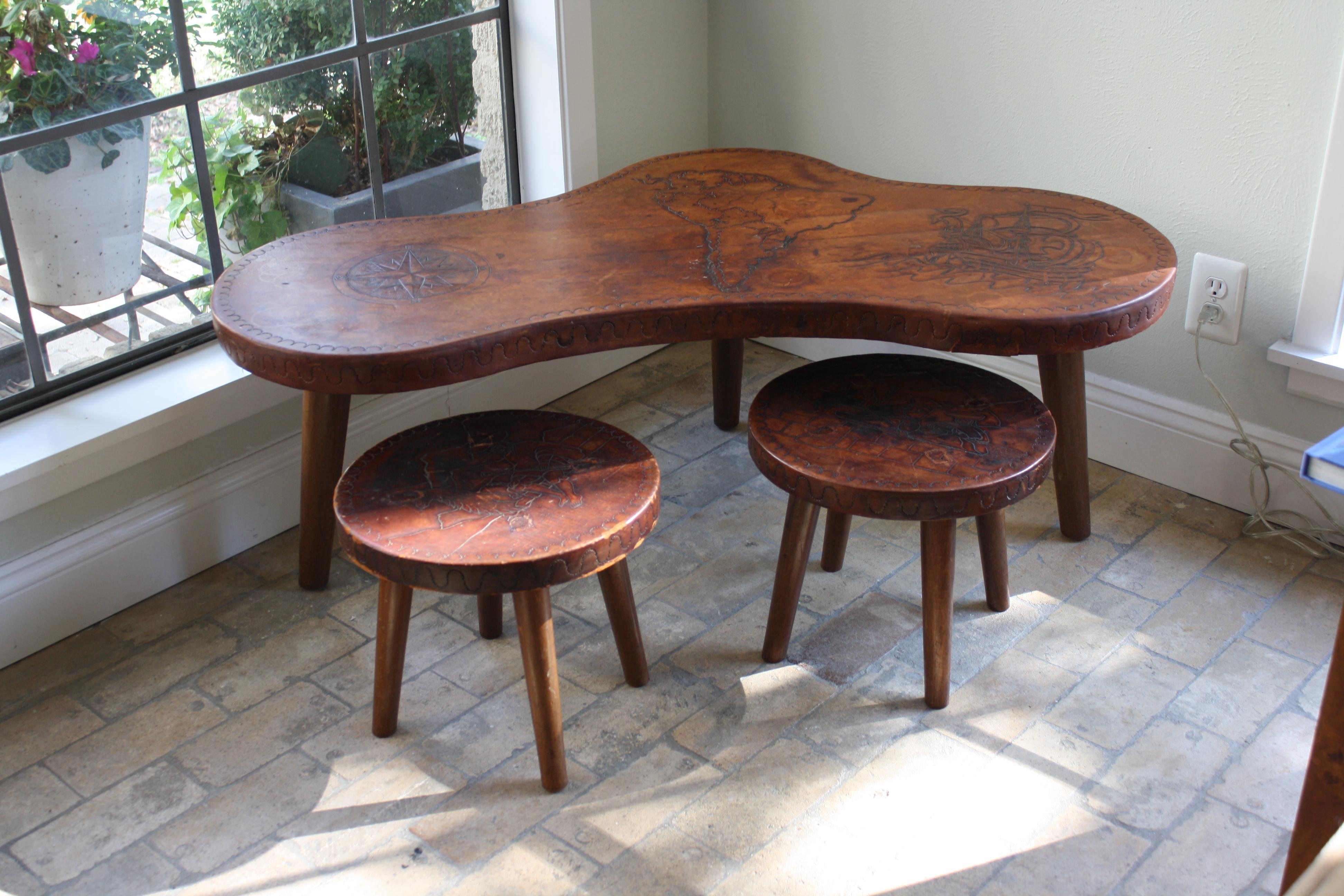 midcentury peruvian leather coffee table u0026 stools image 2 of 11