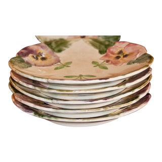Antique French Majolica Floral Plates - Set of 6