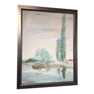 Vintage Misty Landscape Painting